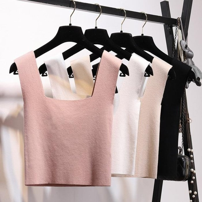 2018夏季新款針織工字小背心女打底短款吊帶緊身露臍上衣無袖T恤