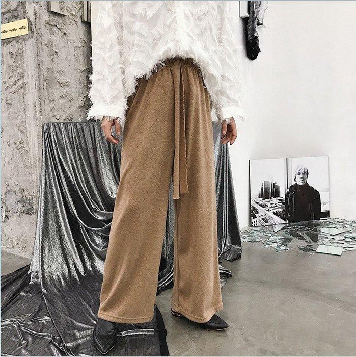 ☆~崇尚潮男瘋~☆【A01-K270 韓版時尚潮流設計款慵懶風高級感針織百搭休閒闊腿長褲】