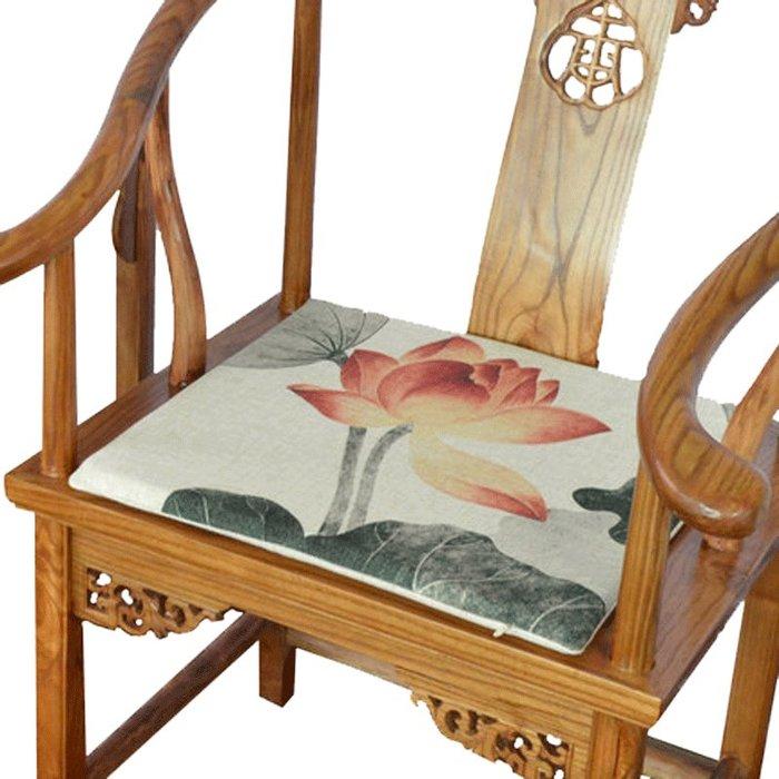 SX千貨鋪-水墨荷花風棉麻餐椅坐墊茶室茶樓新桌椅坐墊太師椅墊座墊