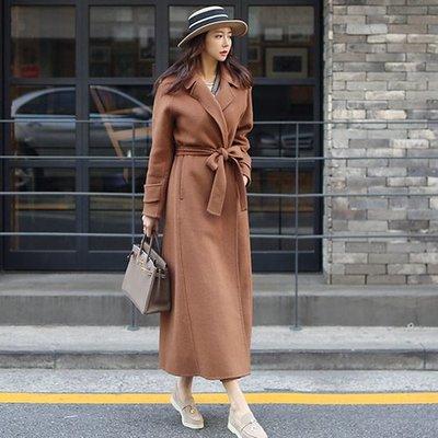 【Nina SHOP】韓國時尚 西裝領腰帶毛呢長款大衣外套