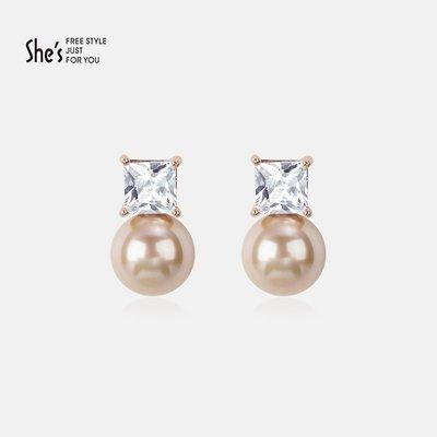 精緻life 耳飾合成立方氧化鋯氣質珍珠吊墜耳釘女 簡約耳環小耳墜