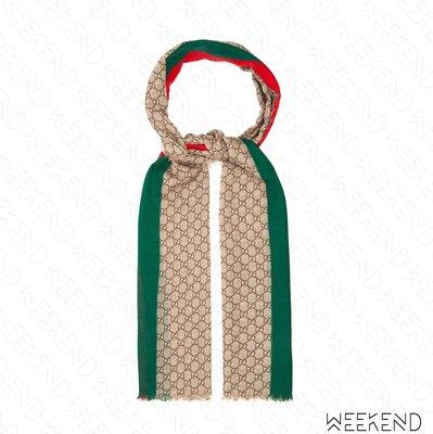 【WEEKEND】 GUCCI GG Wool Stole Web 條紋 羊毛 圍巾 米色 20春夏 600950