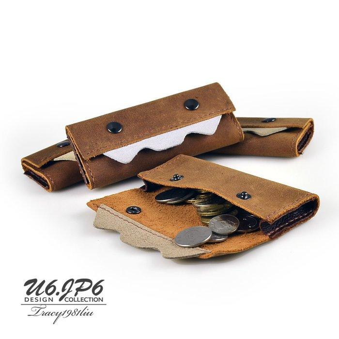 【U6.JP6 手工皮件】-純手作純手工縫製進口牛皮革 虎牙寶萬用包 / 零錢包
