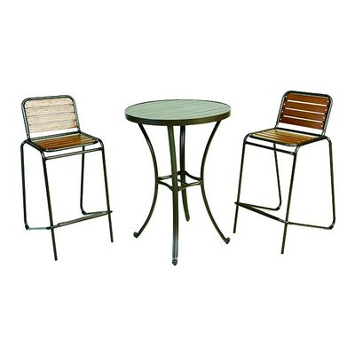 【紅豆戶外休閒傢俱】鋁合金高腳塑木桌椅組 一桌二椅 庭園桌椅 咖啡廳桌椅 餐廳桌椅 中庭桌椅 民宿桌椅 農場桌椅