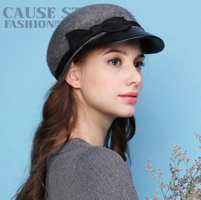 SR 秋冬保暖100%羊毛帽軍帽 鴨舌帽 緞帶蝴蝶結毛呢帽 2色