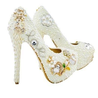 圓頭高跟鞋 珍珠婚鞋-搶眼水鑽花朵高雅女鞋子73e3[獨家進口][米蘭精品]