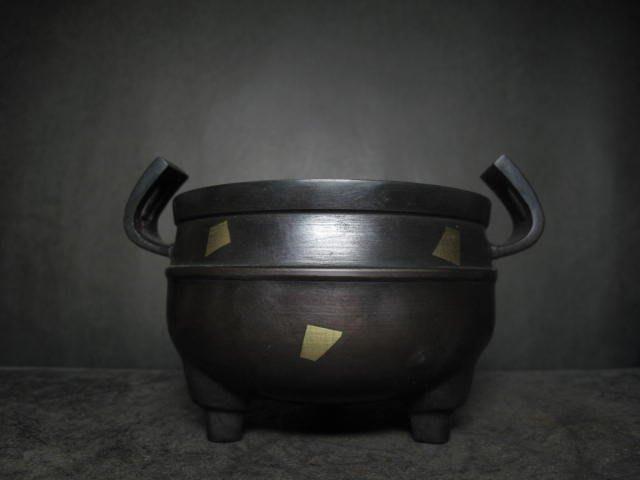 老銅爐◎ 崁金 官帽銅香爐  【玉堂清玩 款】