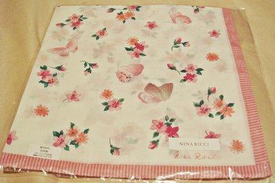全新日本帶回日本製 NINA RICCI 100% 純棉方形領巾方巾絲巾手帕 1,低價起標無底價!本商品免運費!