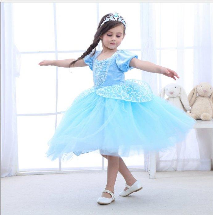 *蜜寶貝*中大女童-灰姑娘公主裙 萬聖節表演蓬蓬裙 冰雪奇緣萬聖節小禮服-尺寸110-160CM 約2-15歲-0024