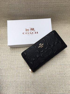 【紐約精品舖】COACH 53834 新款女士壓花浮雕長夾 時尚大方 拉鏈錢包  超低直購 美國正品代購