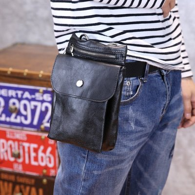 **蛻變英倫**韓國 紐約 歐美頂級款手機包胸包男士穿皮帶腰包多功能休閒掛包手腕手臂包
