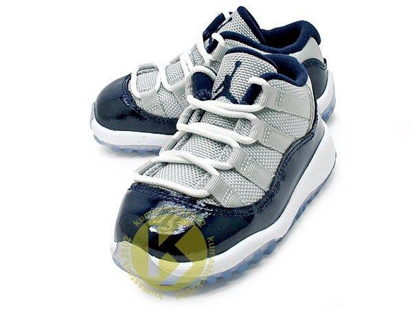 NIKE JORDAN 11 XI RETRO LOW TD BT 幼童鞋 BABY 鞋 灰深藍 深藍灰 亮皮 喬治城