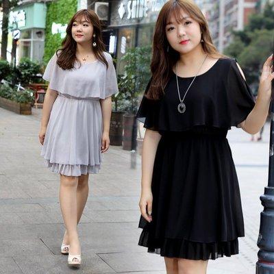 2018夏季新款雪紡加肥加大碼女裝胖mm連衣裙遮肚子顯瘦藏肉100公斤 預購款