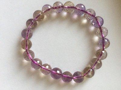 天然水晶 紫黃晶 上品 手鍊 切割 手珠   水晶  天然 開運 招財 飾品