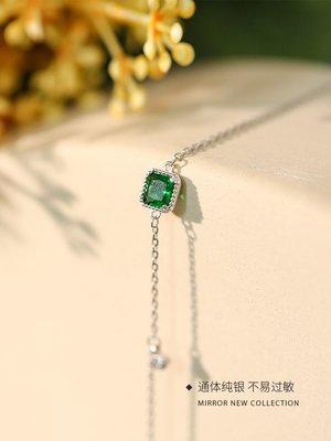 配飾耳環項鏈戒指@小麋人 切面復古墨綠色方形閃鉆S925純銀手鏈顯膚白配飾手環女款