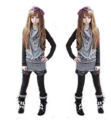 ☆Candy Box☆個性休閒可愛少女生長袖兩件T恤 Z1323065