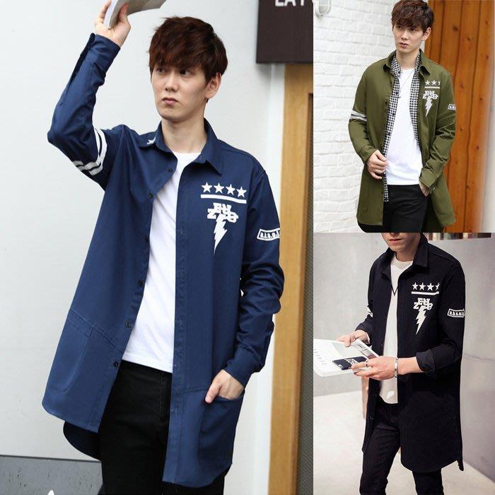 『潮范』 WS09 新款風衣外套 男士中長款大衣 百搭長大衣 棉質立領外套NRB2453