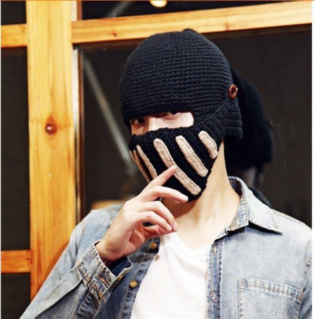 ☆雯雯館☆騎士帽 羅馬帽 羅馬武士帽 韓版 保暖 防寒 防風 毛線帽 男款 女款 頭盔 毛帽 可當 眼罩 口罩 頭套