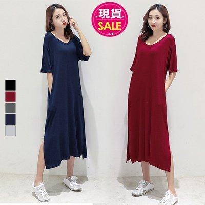 【JD Shop】莫代爾寬鬆開叉口袋V領連身裙 短袖休閒大碼長裙 孕婦也可穿