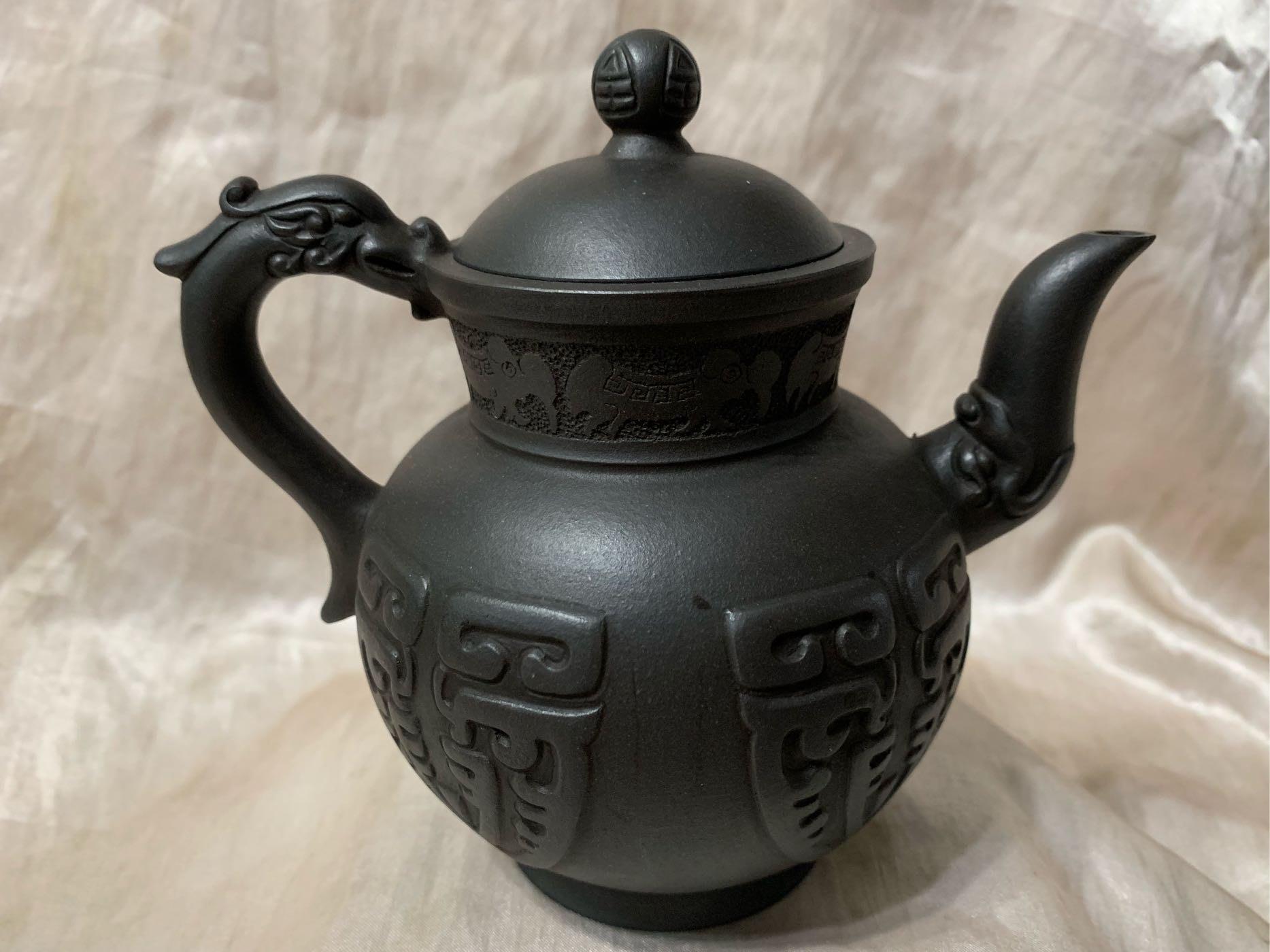頂頂級全手工黑紫砂呈祥壺