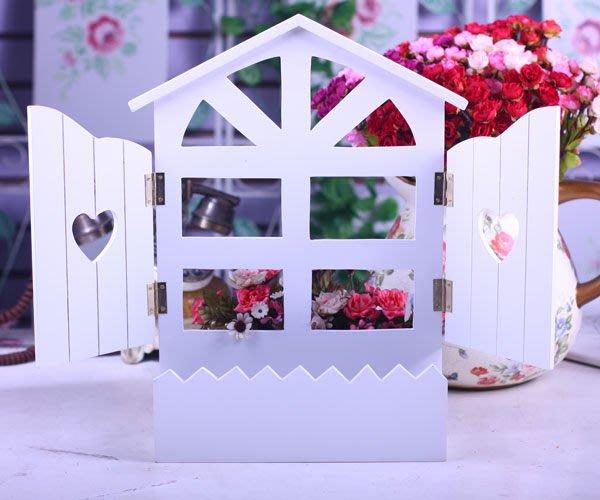 粉紅玫瑰精品屋~精美田園純白彩繪木製假窗~現貨