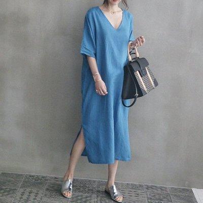 棉麻約會短袖洋裝連身裙韓風 素雅大V領側開叉連身裙 艾爾莎【TGK6779】