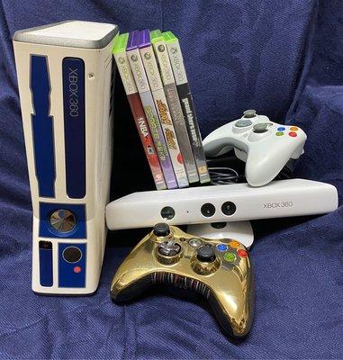 微軟 Microsoft Xbox360 S 20GB 星際大戰限量主機、專屬白色Kinect 體感機*1、手把*2、遊戲*6 二手美品