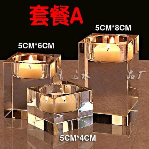 5Cgo【批發】含稅38449430203 蠟燭台歐式浪漫簡約K9水晶實心柱餐廳燭光晚餐西餐咖啡館總統套房裝飾結婚喜慶禮