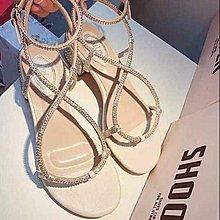 ☆ ╮街頭教主。超美!韓國交叉水鑽套趾低跟涼鞋