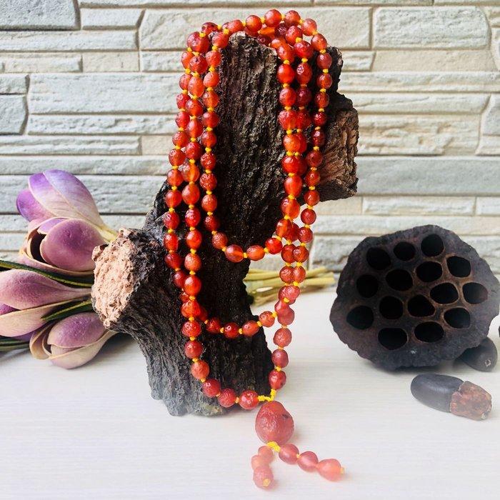 [馬克與安]紅莓軟糖戀-108顆戈壁櫻桃紅項鍊/5-6mm圓珠;週長:100cm