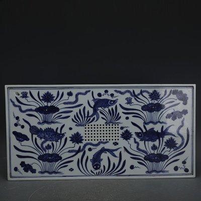 ㊣姥姥的寶藏㊣ 大明宣德青花手工瓷魚藻紋長方茶盤  官窯古瓷器古玩古董收藏擺件
