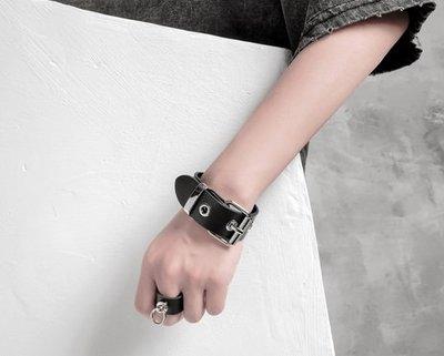 【黑店】原創設計設計師訂製款簡約龐克皮質手環 個性手環 龐克金屬環個性手環 龐克暗黑系飾品 百搭飾品XY123