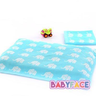 BabyFace藍象歡樂兔紗布料枕巾枕頭巾柔軟透氣寶寶巾(30*50cm)
