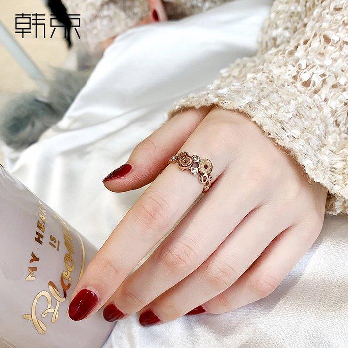 韓京時尚食指戒指女日韓潮人鈦鋼指環學生防過敏戒子網紅彩金飾品對戒銀戒指 首飾尾戒結婚對戒