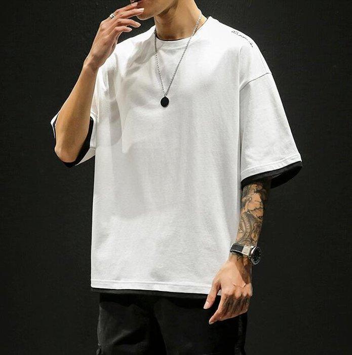 韓系日系複古假兩件短袖T恤男潮流百搭純棉男士五分袖上衣  C216