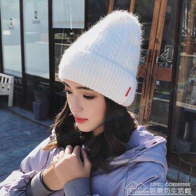 帽子女冬季韓版百搭時尚潮兔毛帽戶外騎車加厚冬天保暖針織毛線帽