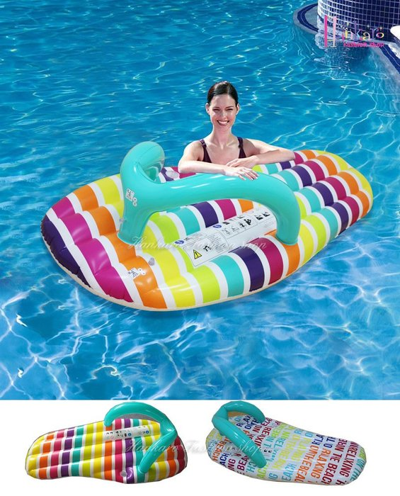 ☆[Hankaro]☆ 夏日戲水夾腳拖鞋造型充氣泳圈充氣浮排