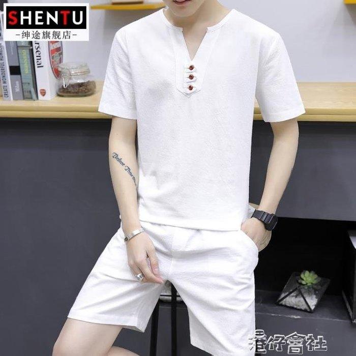 套裝夏季薄款休閒青年V領運動衣服短袖男短褲韓版修身潮短褲
