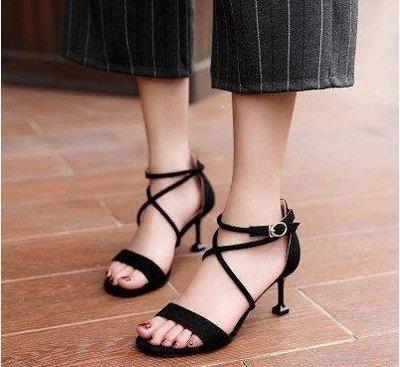 ZIHOPE 高跟涼鞋 夏季新款休閒中跟高跟鞋韓版百搭單鞋一字帶貓跟鞋包頭女鞋ZI812