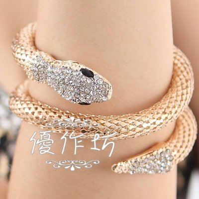 【優作坊】F104_金屬蛇型造型手環、肚皮舞手環、印度舞手鐲,舞蹈表演手環、