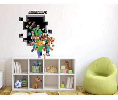 (全館免運)兒童房墻紙Minecraft run away我的世界環保貼畫樂高墻貼紙兒童房裝飾畫