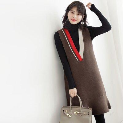 秋冬 顯瘦撞色大V領 黑色背心裙 針織洋裝 連身裙 [Classique*真經典] 101701