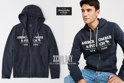 A&F正品Abercrombie&Fitch HEAVYWEIGHT FULL-ZIP LOGO HOODIE連帽外套藍