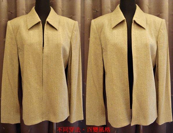 出清大降價!全新 從沒穿過 美國名牌 Liz Claiborne 米色稍偏橄欖綠毛料西裝外套,低價起標無底價!免運費!