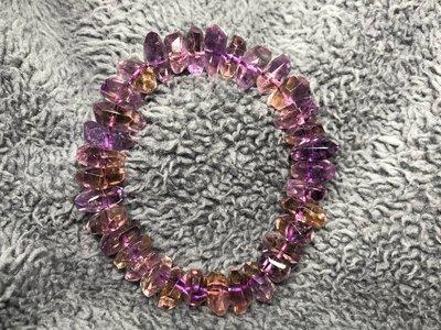 【麥 水晶】【258】 保證天然 紫黃晶手珠 切割面 不規則狀 總重量 38g 12.9mm 直購價$1700元