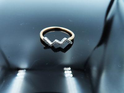 %玉承珠寶%輕珠寶系列14k玫瑰金/白K金精緻天然鑽曲線設計鑽戒/尾戒DR8(現貨1)