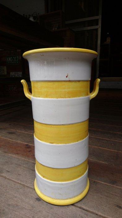 Vintage Americana。復古事 義大利手工製 黃白色陶瓷傘桶