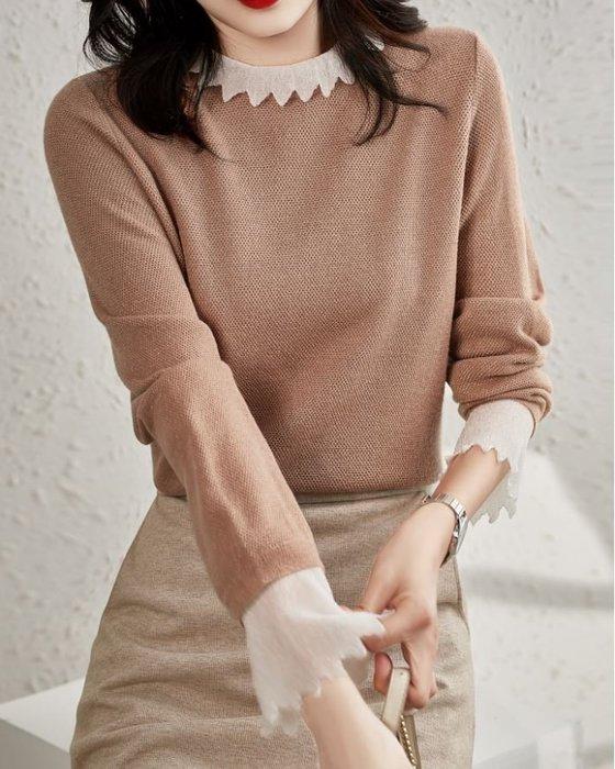 花邊領荷葉袖蕾絲假兩件亮絲羊毛衫 2211