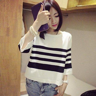 春秋新款中袖T恤韓版女裝五分袖針織衫打底寬鬆短袖條紋上衣