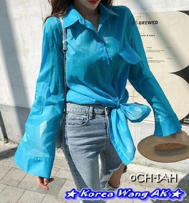 Korea Wang AK ~(現貨)正韓 韓國空運 東大門 外觀酷酷絲質輕薄長袖襯衫 三款 單件1480元【V695】